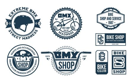Set of vector bmx bike shop, bicycle part and service   badges and icons