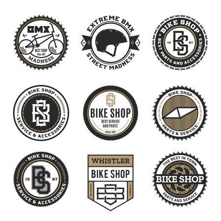 Set of vector bike shop, bicycle part and service   badges and icons Illusztráció