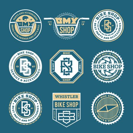 Set of vector bike shop, bicycle part and service   badges and icons Ilustrace