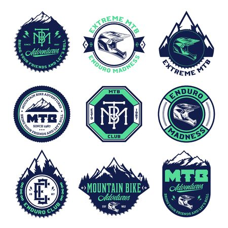 Vector mountain biking adventures, parks, clubs  badges and icons. Enduro, downhill, cross  country biking illustration