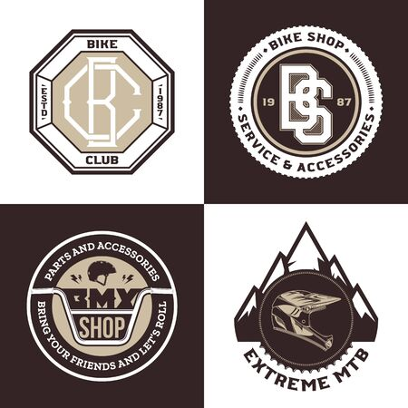 Set of vector bike shop, BMX, mountain biking clubs and adventures Ilustrace