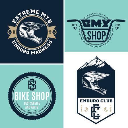 Set of vector bike shop, BMX, mountain biking clubs and adventures Illusztráció