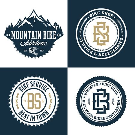 Set of vector bike shop, bicycle service, mountain biking clubs and adventures Ilustrace