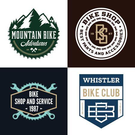 Set of vector bike shop, bicycle service, mountain biking clubs and adventures Illusztráció