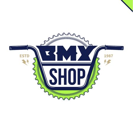 Vector bmx bike shop isolated on a white background