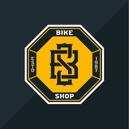 Vector bike shop, bicycle part and service Illusztráció