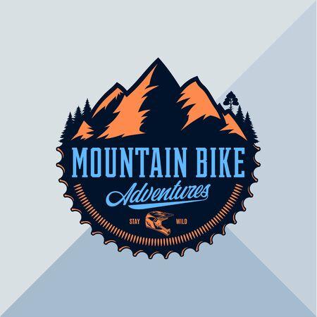Vector mountain biking adventures, parks, clubs . Enduro, downhill, cross-country biking illustration Illusztráció