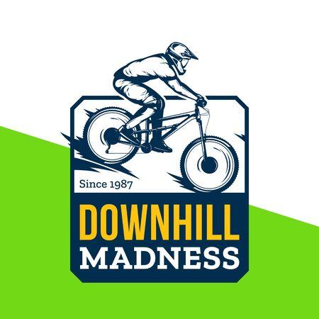 Vector downhill mountain biking badge, label with rider on a bike. Downhill, enduro, cross-country biking illustration