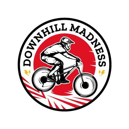 Vector downhill mountain biking badge, label with rider on a bike. Downhill, enduro, cross-country biking illustration Фото со стока - 138425231
