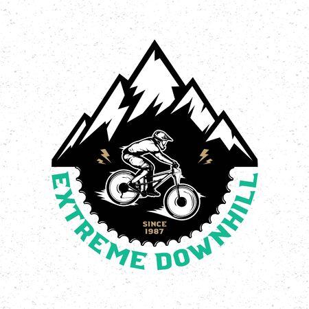 Vector downhill mountain biking badge, label with rider on a bike and mountain silhouette. Downhill, enduro, cross-country biking illustration Фото со стока - 138425466