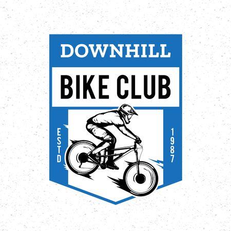 Vector downhill mountain biking badge, label with rider on a bike. Downhill, enduro, cross-country biking illustration Фото со стока - 138425463
