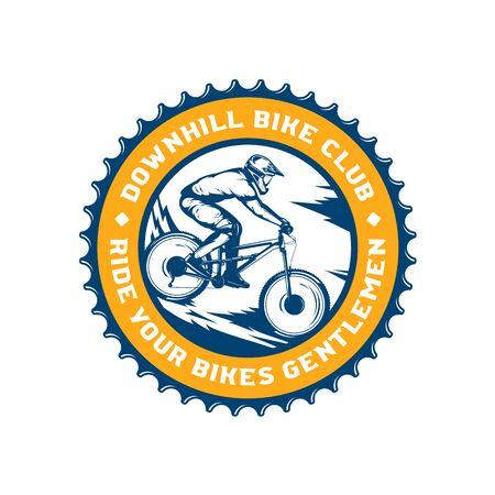 Vector downhill mountain biking badge, label with rider on a bike. Downhill, enduro, cross-country biking illustration Фото со стока - 138425464