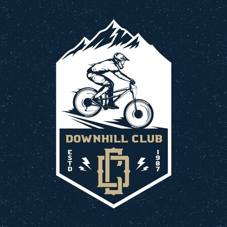 Vector downhill mountain biking badge, label with rider on a bike and mountain silhouette. Downhill, enduro, cross-country biking illustration