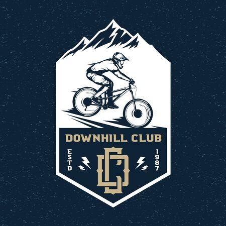 Vector downhill mountain biking badge, label with rider on a bike and mountain silhouette. Downhill, enduro, cross-country biking illustration Фото со стока - 138425469