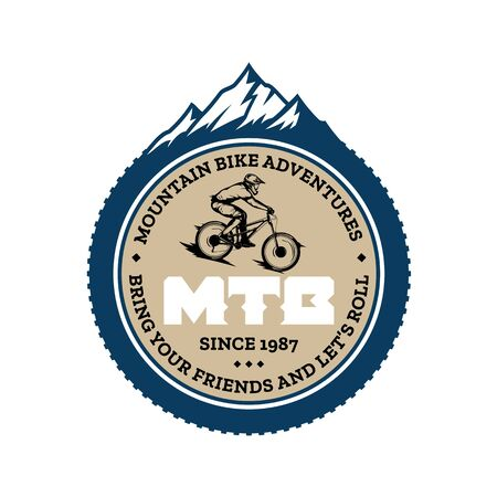 Vector mountain biking badge, label with rider on a bike and mountain silhouette. Downhill, enduro, cross-country biking illustration