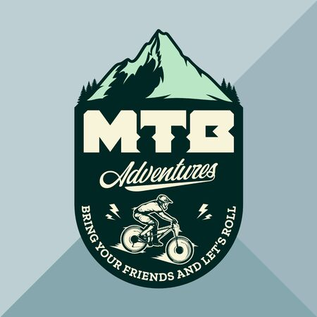 Vector mountain biking badge, label with rider on a bike and mountain silhouette. Downhill, enduro, cross-country biking illustration Фото со стока - 138425470