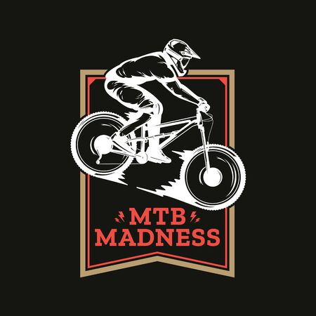 Vector mountain biking badge, label with rider on a bike. Downhill, enduro, cross-country biking illustration Фото со стока - 138425474