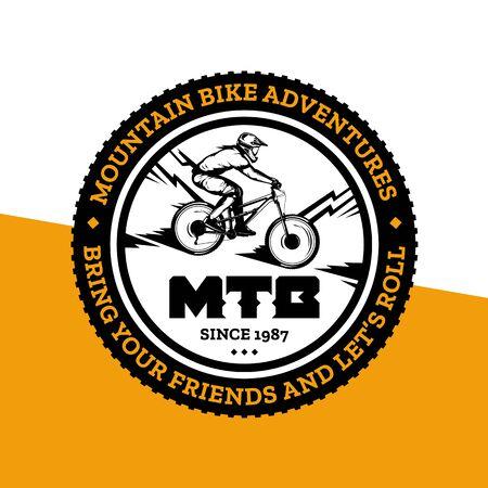 Vector mountain biking badge, label with rider on a bike. Downhill, enduro, cross-country biking illustration Фото со стока - 138425475