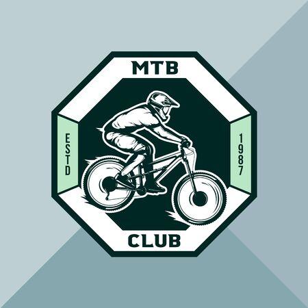 Vector mountain biking badge, label with rider on a bike. Downhill, enduro, cross-country biking illustration