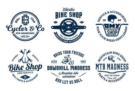 Set of vector bike shop, bicycle service, mountain biking vintage Illusztráció