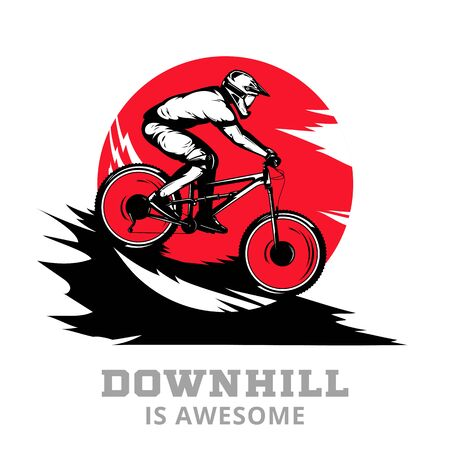 Vector downhill mountain biking illustration with rider on a bike in ultimate black, red and white colors