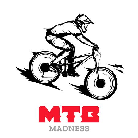 Downhill mountain bike rider on a bike vector illustration