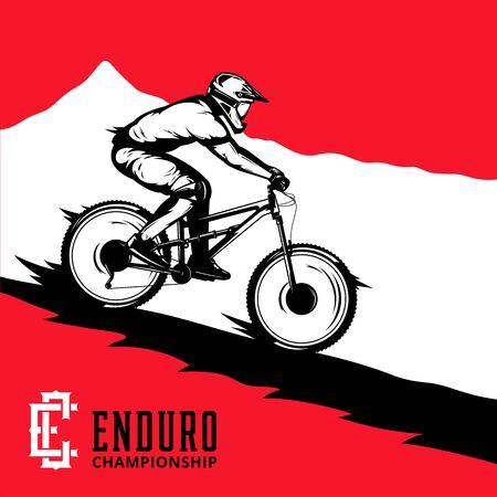 Vector mountain biking illustration with rider on a bike and mountain silhouette. Downhill, enduro, cross-country biking illustration