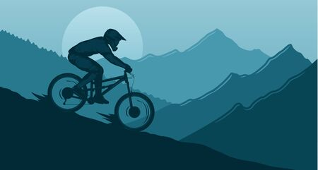 Vector downhill mountain biking illustration with rider on a bike and wild nature landscape. Downhill, enduro, cross-country biking banner