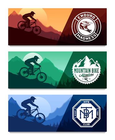Set of vector downhill mountain biking banners with rider on a bike and desert wild nature landscape with cacti, desert herbs and mountains. Downhill, enduro, cross-country biking illustration