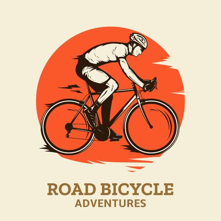 Vector road biking illustration with a rider on a bike in ultimate brown, orange and beige colors