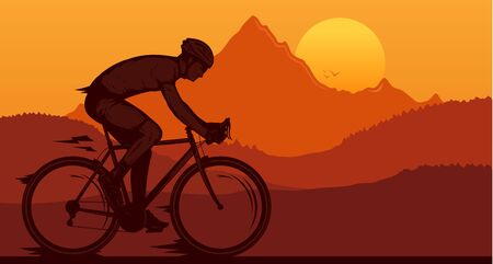 Vector biking illustration with a cyclist on a sportbike on a mountain road