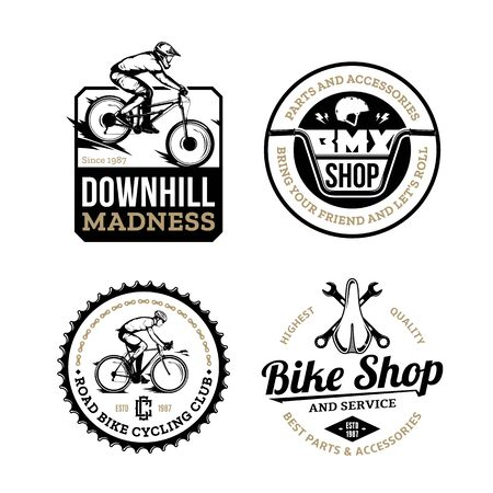 Set of vector black, gold and white bike shop, bicycle service, mountain and road biking clubs and adventures badges Vetores