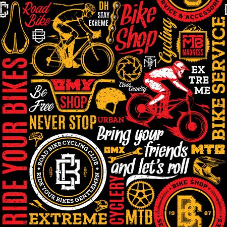 Retro styled vector bicycle seamless pattern or background in black, white, red and yellow colors. Bike shop and club badges. Mountain and road biking icons and design elements