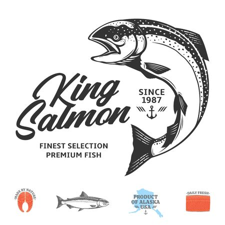 Vector king salmon logo isolated on a white background. Salmon raw steak, fillet and fish illustration
