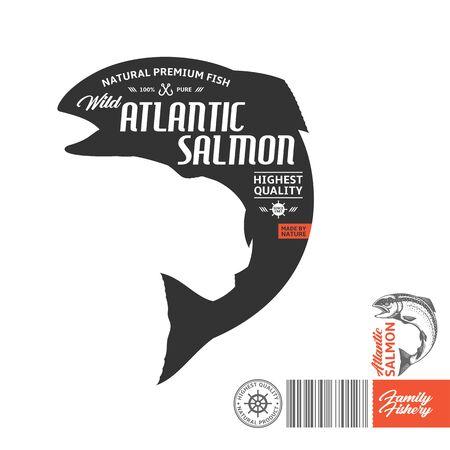 Vector Atlantic salmon label isolated on a white background. Salmon fish illustration
