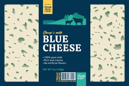 Vector ship's milk blue cheese packaging or label design with daity farm, sheep and lamb. Realistic cheese texture