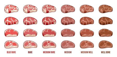 Vector steak icons set. Degrees of steak doneness. Blue, rare, medium, well, well done