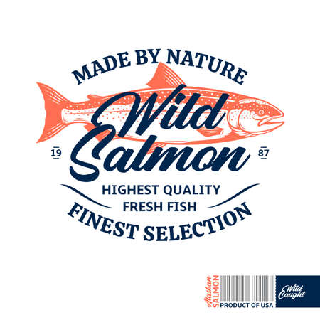 Vector wild salmon. Salmon label with sample text. Seafood logotype design. Fish illustration