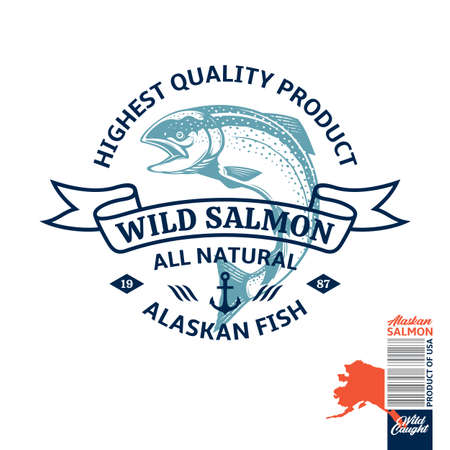 Vector wild caught Alaskan salmon . Salmon label with sample text. Seafood logotype design. Fish illustration 일러스트