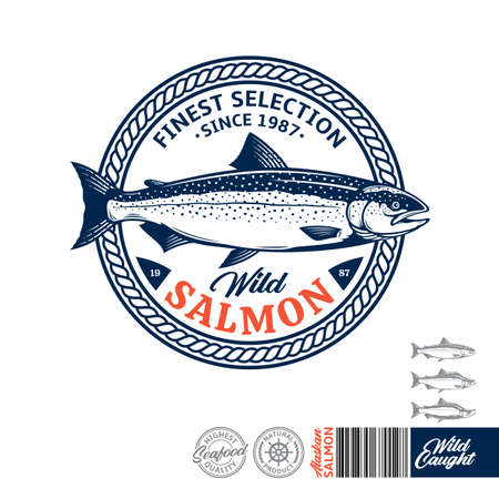 Vector wild caught salmon. Atlantic, sockeye and pink salmon illustration. Seafood label with sample text. Vector logotype design 일러스트