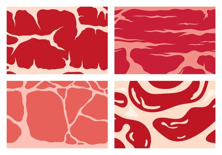 Vector meat background or pattern collection. Beef, pork, lamb.