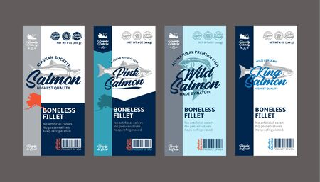 Vector salmon vertical labels. Wild, chinook, sockeye, and pink salmon fish illustrations. Seafood labels for groceries, fisheries, packaging, and advertising Vecteurs