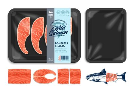 Vector salmon packaging illustration. Black foam tray with plastic film mockup. Modern style seafood label