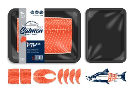 Vector Alaskan sockeye salmon packaging illustration. Black foam tray with plastic film mockup. Salmon steak and fillet 일러스트