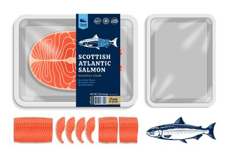 Vector Atlantic salmon packaging illustration. White foam tray with plastic film mockup. Modern style seafood label