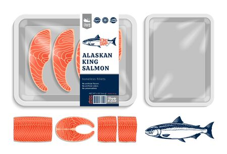 Vector Alaskan king salmon packaging illustration. Salmon steak and fillet. White foam tray with plastic film mockup. Modern style seafood label Archivio Fotografico - 147668137