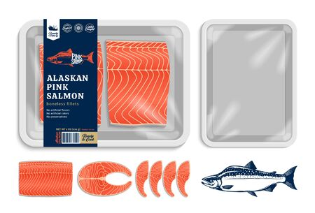 Vector Alaskan pink salmon packaging illustration. Salmon steak and fillet. White foam tray with plastic film mockup. Modern style seafood label