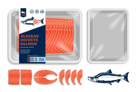 Vector sockeye salmon packaging illustration. White foam tray with plastic film mockup. Modern style seafood label 일러스트