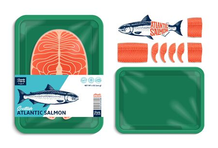 Vector Atlantic salmon packaging illustration. Green foam tray with plastic film mockup. Modern style seafood label