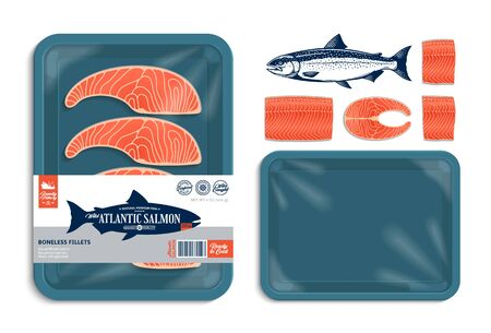 Vector Atlantic salmon packaging illustration. Teal color foam tray with plastic film mockup. Modern style seafood label for groceries, fisheries, packaging, and advertising